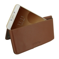 Leather Wallet Pouch for Samsung Galaxy C9 Pro (Brown)