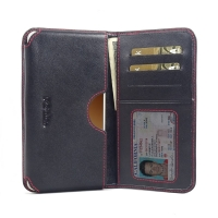 Leather Card Wallet for Samsung Galaxy C9 Pro (Red Stitch)