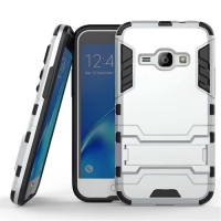 Samsung Galaxy J1 (2016) Tough Armor Protective Case (Silver)