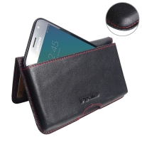 Leather Wallet Pouch for Samsung Galaxy J3 (2017) (Red Stitch)