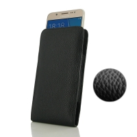 Leather Vertical Pouch Case for Samsung Galaxy J5 (2016) (Black Pebble Leather/Black Stitch)