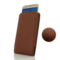 Leather Vertical Pouch Case for Samsung Galaxy J7 (2016) (Brown Pebble Leather)