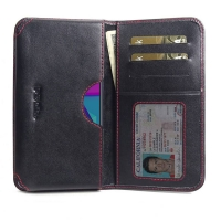 Leather Card Wallet for Samsung Galaxy M10s (Red Stitch)