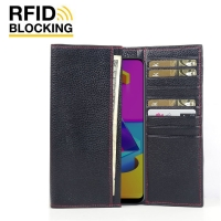 Continental Leather RFID Blocking Wallet Case for Samsung Galaxy M10s (Black Pebble Leather/Red Stitch)