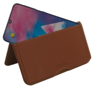 Leather Wallet Pouch for Samsung Galaxy M30 (Brown)
