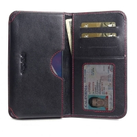 Leather Card Wallet for Samsung Galaxy M30 (Red Stitch)
