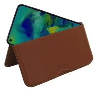 Leather Wallet Pouch for Samsung Galaxy M40 (Brown)