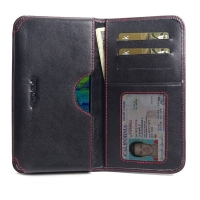 Leather Card Wallet for Samsung Galaxy M40 (Red Stitch)