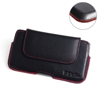 Luxury Leather Holster Pouch Case for Samsung Galaxy Note 10 5G ( Compatible with 1.0 mm Slim Case / Cover on ) (Red Stitch)