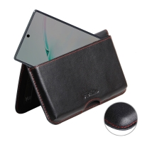 Leather Wallet Pouch for Samsung Galaxy Note 10 5G ( Compatible with 1.0 mm Slim Case / Cover on ) (Red Stitch)