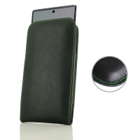 Leather Vertical Pouch Case for Samsung Galaxy Note 10 5G ( Compatible with 1.0 mm Slim Case / Cover on ) (Green Stitch)