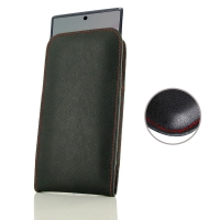 Leather Vertical Pouch Case for Samsung Galaxy Note 10 5G ( Compatible with 1.0 mm Slim Case / Cover on )  (Red Stitch)
