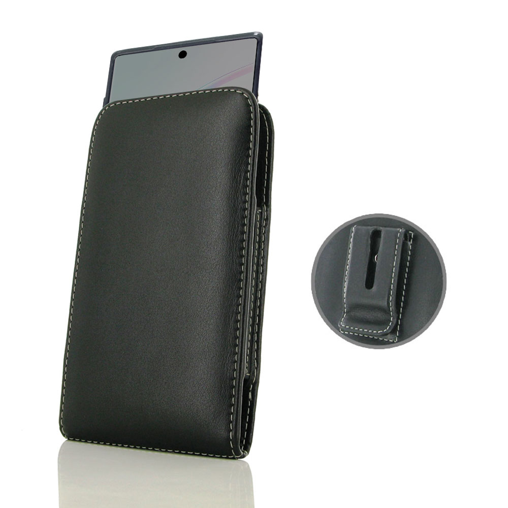 Samsung Galaxy Note 10 5G (in Slim Cover) Pouch Clip Case is specially custom designed for the device in slim skin case, cover or bumper. Traditional design and full protection. This handmade carrying case allows you to place the device anywhere like on y