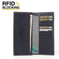 Continental Leather RFID Blocking Wallet Case for Samsung Galaxy Note 10 5G (Black Pebble Leather/Red Stitch)