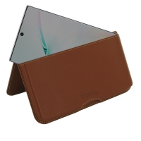 Leather Wallet Pouch for Samsung Galaxy Note 10 5G (Brown)