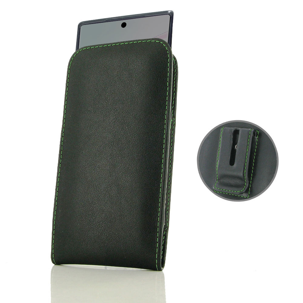 10% OFF + FREE SHIPPING, Buy the BEST PDair Handcrafted Premium Protective Carrying Samsung Galaxy Note 10  (in Slim Cover) Pouch Clip Case (Green Stitch). Exquisitely designed engineered for Samsung Galaxy Note 10 .