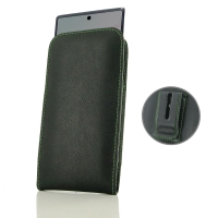 Leather Vertical Pouch Belt Clip Case for Samsung Galaxy Note 10 ( Compatible with 1.0 mm Slim Case / Cover on ) (Green Stitch)