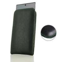 Leather Vertical Pouch Case for Samsung Galaxy Note 10 (Green Stitch)