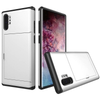 Armor Protective Case with Card Slot for Samsung Galaxy Note 10 Plus 5G | Samsung Galaxy Note10+ 5G (Silver)