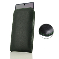 Leather Vertical Pouch Case for Samsung Galaxy Note 10 Plus 5G | Samsung Galaxy Note10+ 5G ( Compatible with 1.0 mm Slim Case / Cover on ) (Green Stitch)