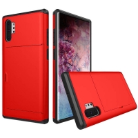 Armor Protective Case with Card Slot for Samsung Galaxy Note 10 Plus | Samsung Note 10+ (Red)