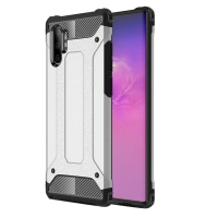 Hybrid Dual Layer Tough Armor Protective Case for Samsung Galaxy Note 10 Plus | Samsung Note 10+ (Silver)