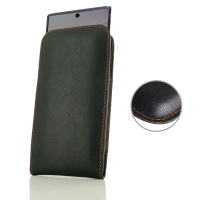 Leather Vertical Pouch Case for Samsung Galaxy Note 10 Plus | Samsung Note 10+ (in Slim Case/Cover) (Orange Stitch)
