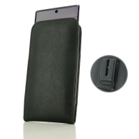 Leather Vertical Pouch Belt Clip Case for Samsung Galaxy Note 10 Plus | Samsung Note 10+ (in Slim Case/Cover) (Black Stitch)