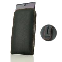 Leather Vertical Pouch Belt Clip Case for Samsung Galaxy Note 10 Plus | Samsung Note 10+ (in Slim Case/Cover) (Orange Stitch)