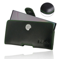 Leather Horizontal Pouch Case with Belt Clip for Samsung Galaxy Note 10 Plus | Samsung Note 10+ (Green Stitch)