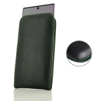 Leather Vertical Pouch Case for Samsung Galaxy Note 10 Plus | Samsung Note 10+ (Green Stitch)