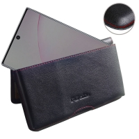 Leather Wallet Pouch for Samsung Galaxy Note 10 Plus | Samsung Galaxy Note 10+ (Red Stitch)