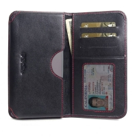 Leather Card Wallet for Samsung Galaxy Note 10 Plus | Samsung Galaxy Note10+ (Red Stitch)
