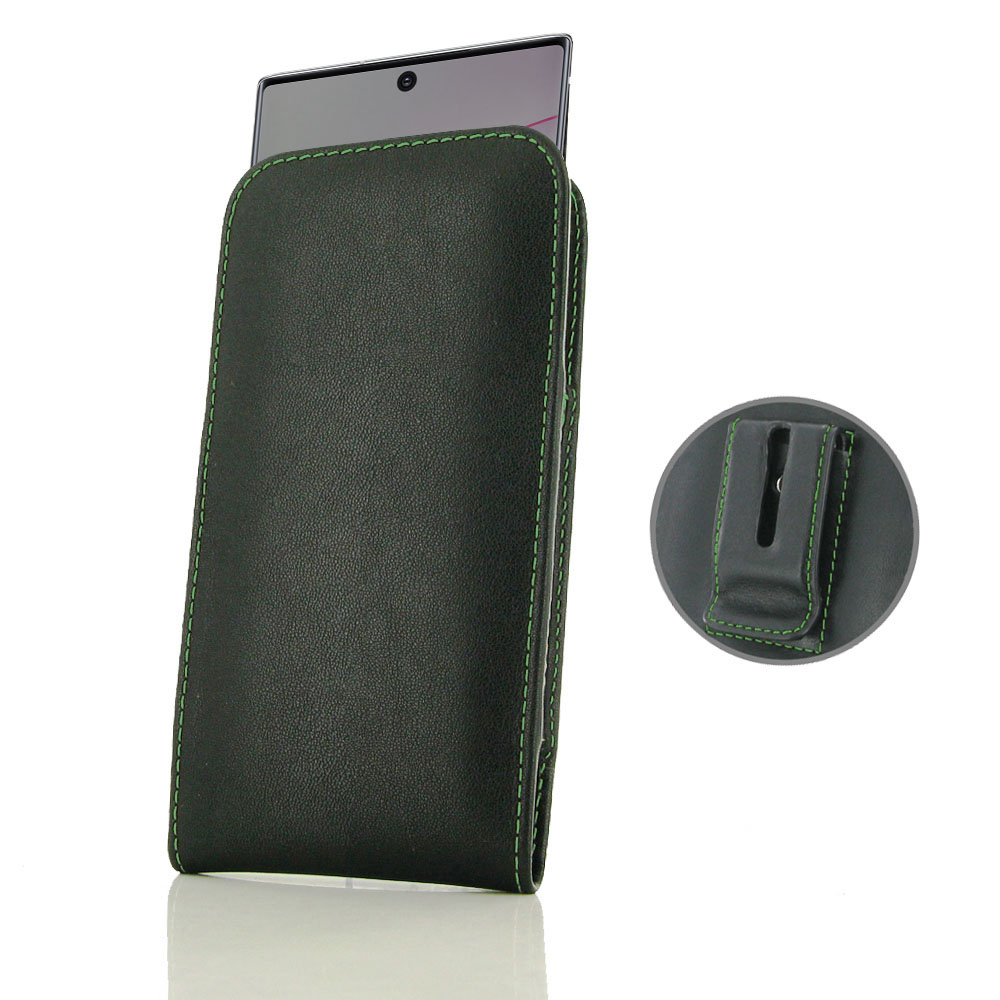 10% OFF + FREE SHIPPING, Buy the BEST PDair Handcrafted Premium Protective Carrying Samsung Galaxy Note 10 Plus Pouch Case with Belt Clip (Green Stitch). Exquisitely designed engineered for Samsung Galaxy Note 10 Plus.