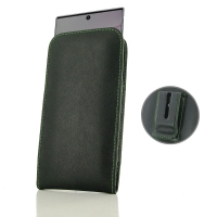 Leather Vertical Pouch Belt Clip Case for Samsung Galaxy Note 10 Plus | Samsung Note 10+ (Green Stitch)