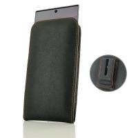 Leather Vertical Pouch Belt Clip Case for Samsung Galaxy Note 10 Plus | Samsung Note 10+ (Orange Stitch)