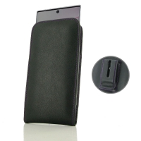 Leather Vertical Pouch Belt Clip Case for Samsung Galaxy Note 10 Plus | Samsung Note 10+ (Purple Stitch)