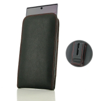Leather Vertical Pouch Belt Clip Case for Samsung Galaxy Note 10 Plus | Samsung Note 10+ (Red Stitch)