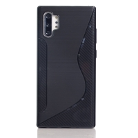Soft Plastic Case for Samsung Galaxy Note 10+ | Samsung Galaxy Note 10 Plus (Black S Shape pattern)