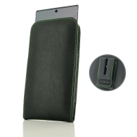 Leather Vertical Pouch Belt Clip Case for Samsung Galaxy Note 10 (Green Stitch)