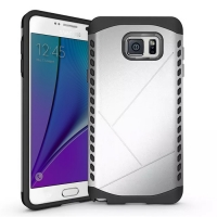 Hybrid Combo Aegis Armor Case Cover for Samsung Galaxy Note 5 | Samsung Galaxy Note5 (Silver)