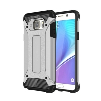 Hybrid Dual Layer Tough Armor Protective Case for Samsung Galaxy Note 5 | Samsung Galaxy Note5 (Silver)