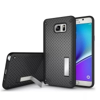 Hybrid Shockproof Bumper with Stand for Samsung Galaxy Note 5 | Samsung Galaxy Note5 (Black)