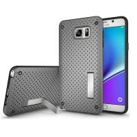 Hybrid Shockproof Bumper with Stand for Samsung Galaxy Note 5 | Samsung Galaxy Note5 (Grey)