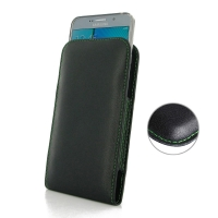 Leather Vertical Pouch Case for Samsung Galaxy Note 5 | Samsung Galaxy Note5 ( Compatible with 1.0 mm Slim Case / Cover on ) (Green Stitch)