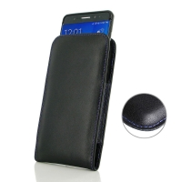 Samsung Galaxy Note 7 (in Slim Cover) Pouch Case (Purple Stitch) PDair Premium Hadmade Genuine Leather Protective Case Sleeve Wallet