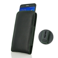 Leather Vertical Pouch Belt Clip Case for Samsung Galaxy Note FE / Note 7 (in Slim Case/Cover) (Green Stitch)