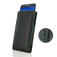 Samsung Galaxy Note 7 Pouch Case with Belt Clip (Green Stitch) PDair Premium Hadmade Genuine Leather Protective Case Sleeve Wallet