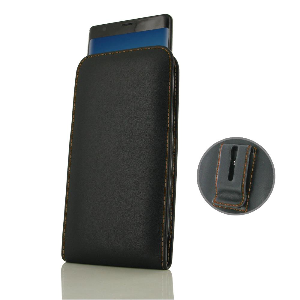 Leather Vertical Pouch Belt Clip Case for Samsung Galaxy Note8 | Samsung Galaxy Note 8 | Samsung AFRICA_EN (Orange Stitch)