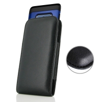 Leather Vertical Pouch Case for Samsung Galaxy Note9 | Samsung Galaxy Note 9 (in Large Size Armor Protective Case Cover) (Black Stitch)